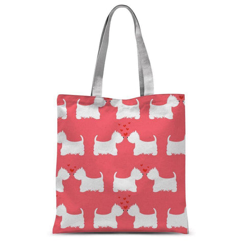 Westies in Love Coral Tote Bag Accessories kite.ly
