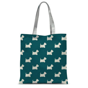 "Blue Dots and Westies Tote Bag Accessories kite.ly 15""x16.5"""