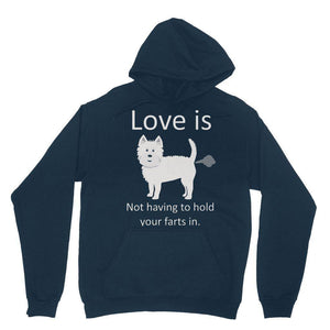 Love is not having to hold your farts in Heavy Blend Hooded Sweatshirt Apparel kite.ly XS Navy