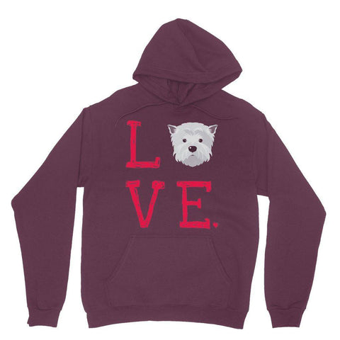 LOVE Westie Hoodie Apparel kite.ly S Maroon