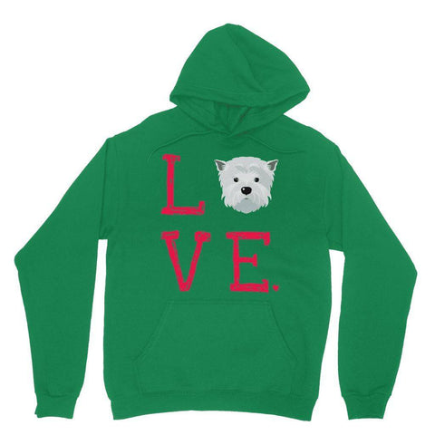 LOVE Westie Hoodie Apparel kite.ly S Irish Green