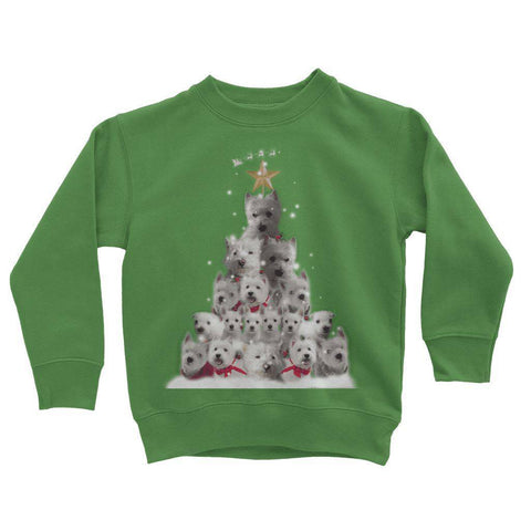 Image of Kids Westie Christmas Tree Sweatshirt Apparel kite.ly 3-4 Years Kelly Green
