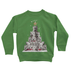 Kids Westie Christmas Tree Sweatshirt Apparel kite.ly 3-4 Years Kelly Green