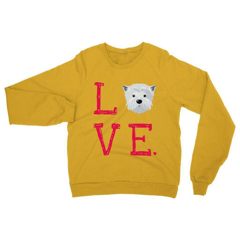 Image of LOVE Westie Sweatshirt Apparel kite.ly S Gold