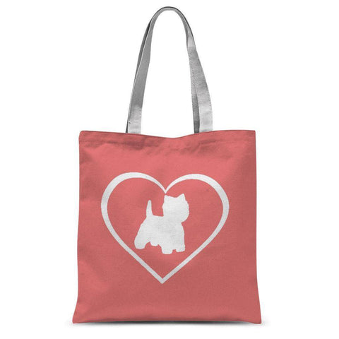 "Westie in a Heart Coral Tote Bag Accessories kite.ly 15""x16.5"""
