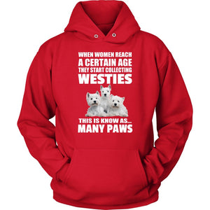 Many Paws Westie Hoodie For Women of a Certain Age. T-shirt teelaunch Unisex Hoodie Red S