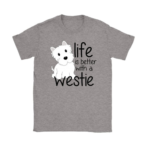 Image of Life is Better With a Westie Softstyle T-shirt T-shirt teelaunch Gildan Womens T-Shirt Sport Grey S