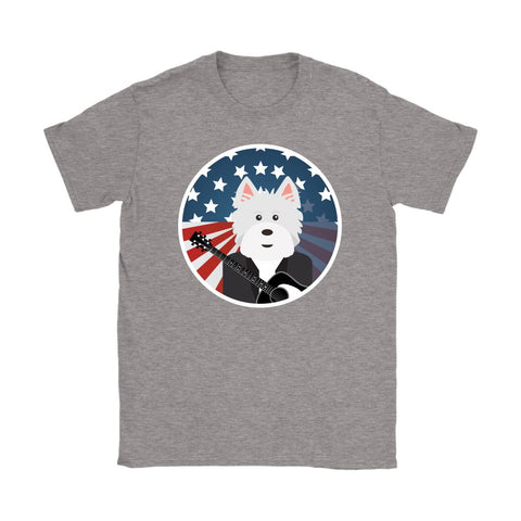 Image of American Westie With a Guitar Softstyle T-shirt T-shirt teelaunch Gildan Womens T-Shirt Sport Grey S