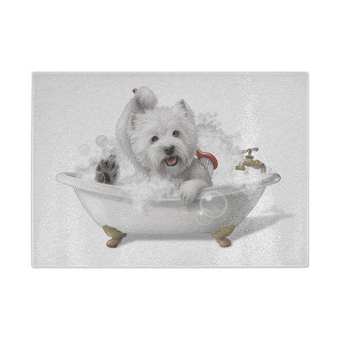 Bathtime Westie - Westie Glass Chopping Board Cutting Boards teelaunch UK Supplier