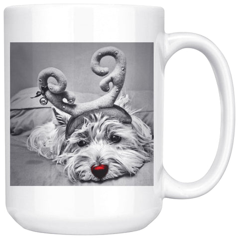 Rudolph the red nosed Westie Photo Mug Drinkware teelaunch 15oz Mug
