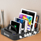 7-Port USB Charging Station Pro, Okra® [Most Powerful] Universal Desktop Tablet & Smartphone Hub Charging Dock (Black)