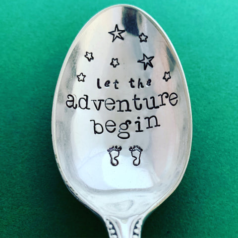 Let the adventure begin (Newborn) - Silver plated spoon - Handmade