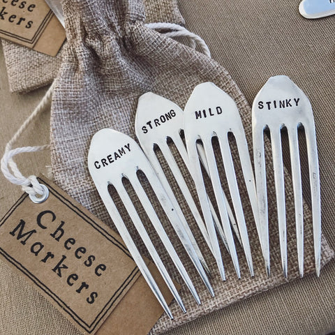 Custom Handmade Cheese Markers - Silver Plated Forks - Handmade