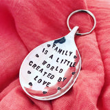 Family is a little world - Spoon Keyring - Handmade