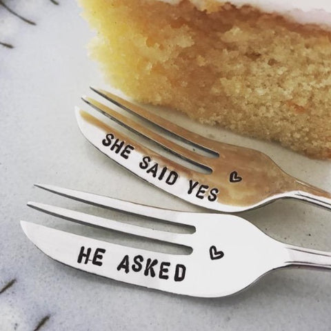 He asked & She said yes cake forks - Silver plated forks - Handmade
