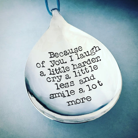 Friend quote spoon hanger - Silver plated spoon - Handmade