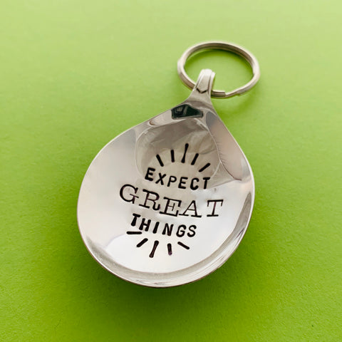 Expect Great Things - Spoon Keyring - Handmade