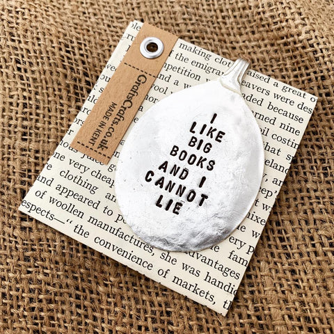 I like big books - Stamped spoon bookmark - Handmade