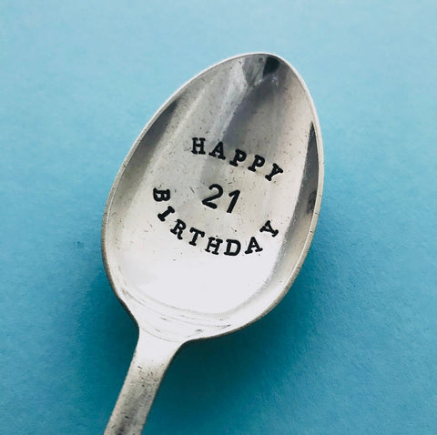 'Happy Birthday 21' - Silver plated dessert spoon - Handmade