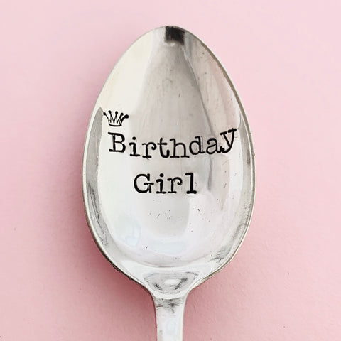 'Birthday Girl' - Silver plated dessert spoon - Handmade