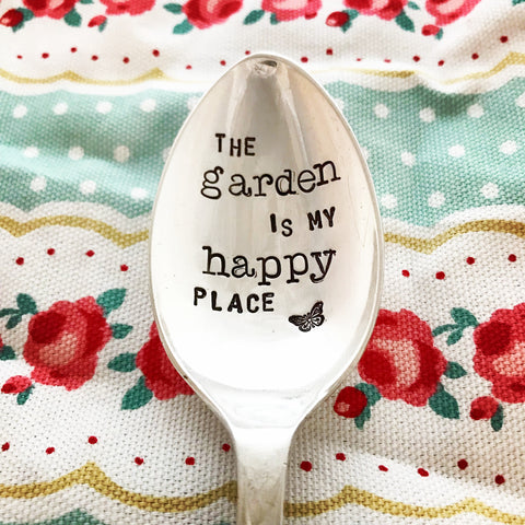 The garden is my happy place  - Silver plated spoon - Handmade