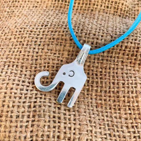 Handmade Elephant pendant - Silver plated cake fork - Made in Kent