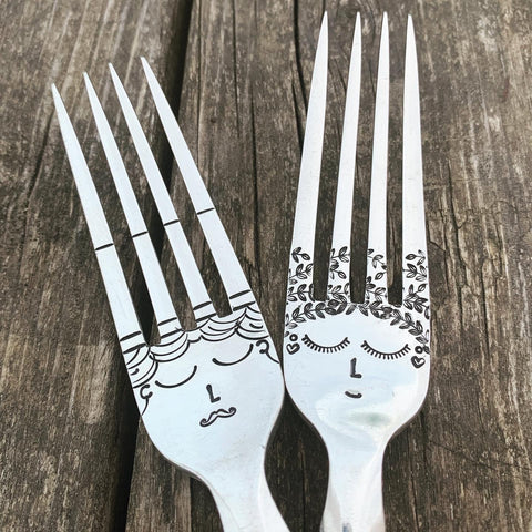 Wedding Bride & Groom - Silver plated serving forks - Handmade