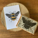 Handmade Bee card - Hand carved block printed card