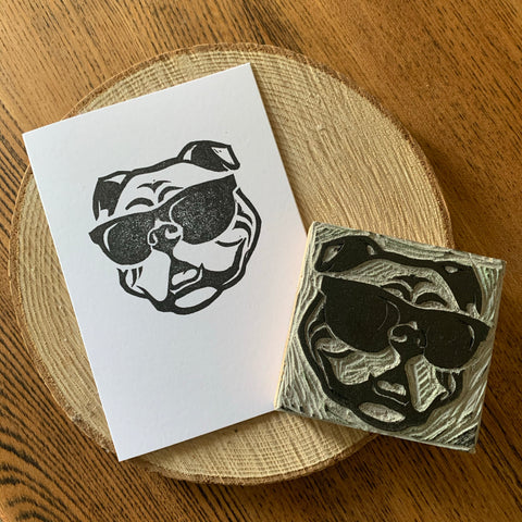 Handmade Bulldog card - Hand carved block printed card