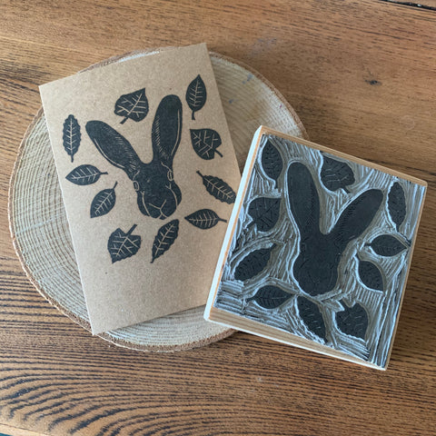 Handmade Hare and leaves card - Hand carved block printed card