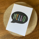 Handmade Hello card - Hand carved block printed card
