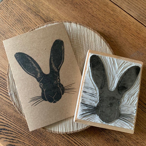 Handmade Hare card - Hand carved block printed card