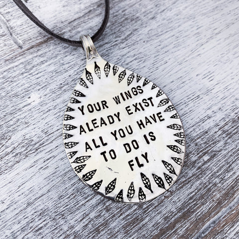 Your wings already exist - Silver plated spoon pendant - Made in Kent