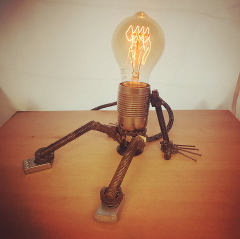 "Welded Lightbulb Figure - ""A bright idea"" - Side Light- Handmade lamp sculpture"