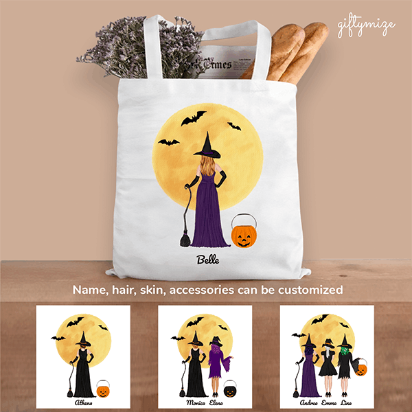 Halloween Personalized Tote Bag Gift For Sisters Best Friends - Name, skin, hair, accessories can be customized