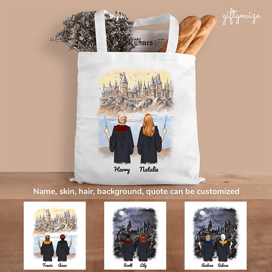 Harry Potter Inspired Man and Woman Personalized Tote bag - Name, skin, hair, background can be customized