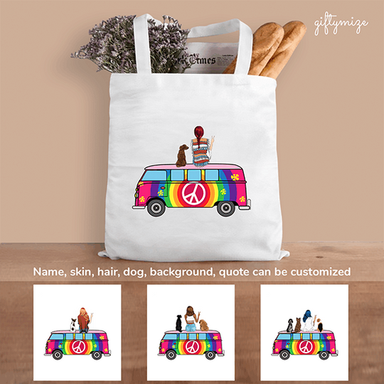 Hippie Girl and Dogs Personalized Tote Bag - Name, skincolor, clothes, accessories, hair, dog can be changed