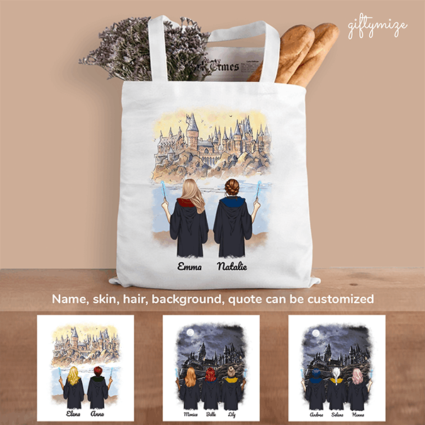 Harry Potter Inspired Best Friends Personalized Tote Bag - Name, hair, skin, background can be customized