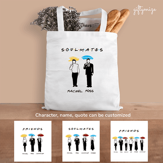 Friends Inspired Personalized Tote Bag - Character, name, quote can be changed