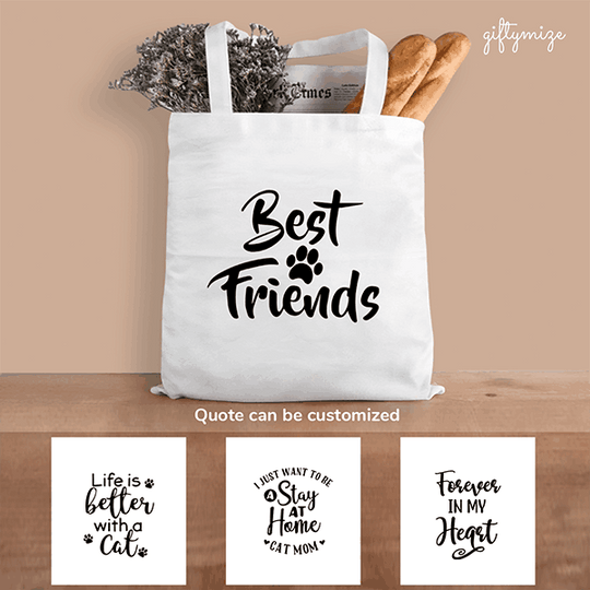 Cat Quote Personalized Tote Bag - Quote can be changed