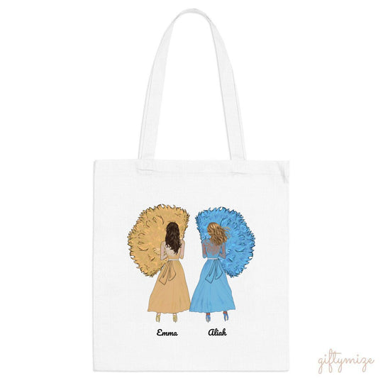 Girls in Dresses Personalized Tote bag - Name, skin, dress, hair can be customized