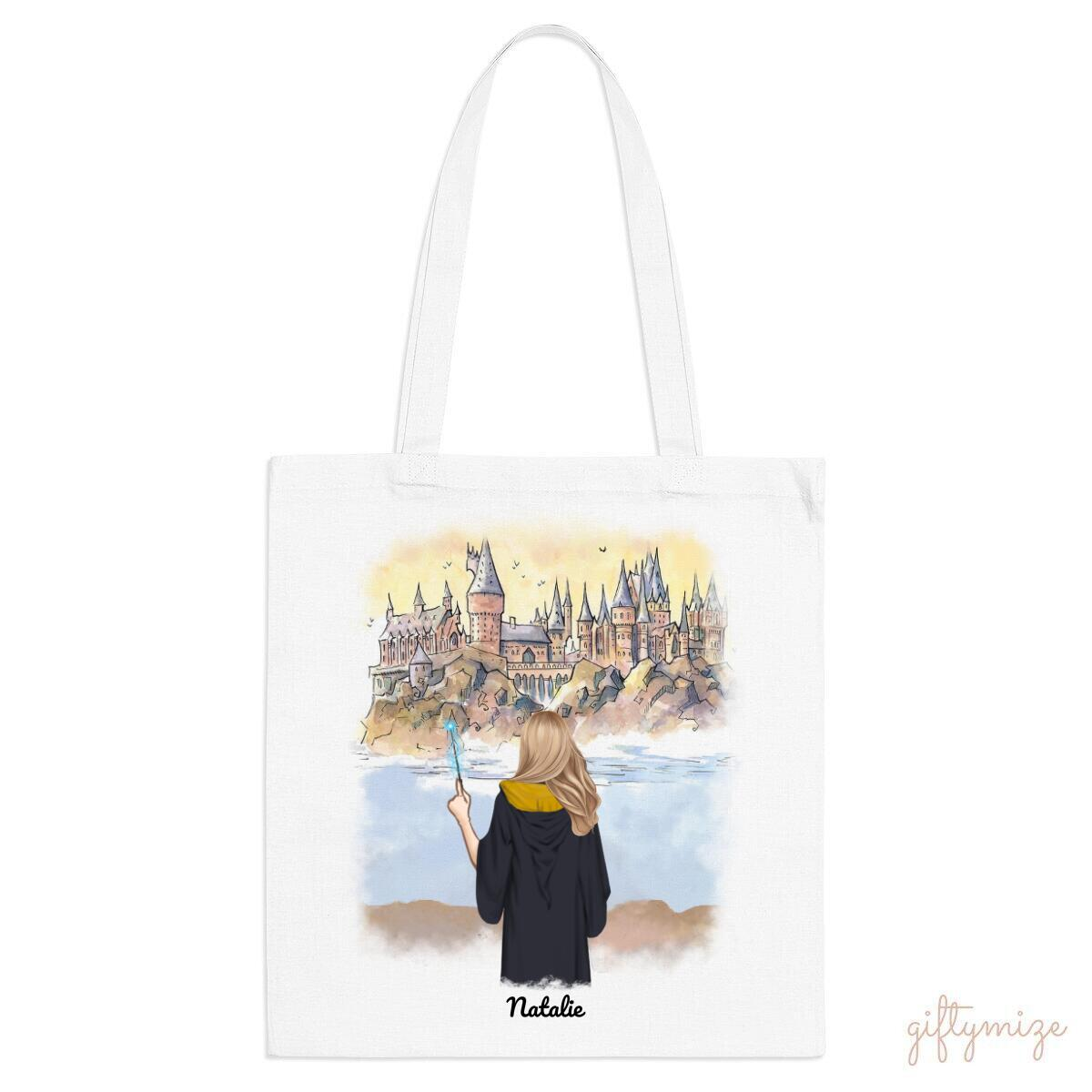 Harry Potter Inspired Girl Personalized Tote Bag - Name, hair, skin, background can be customized