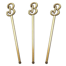 "Royer 6"" Wedding Monogram Letter""B"" Swizzle Sticks/Stirrers, Script Font, Gold, Set of 24, Made in USA"