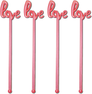 Royer Stir Sticks, Swizzle Sticks, Drink Stirrers in Love Script for Weddings, Bridal Showers, Valentine's Day - Your Choice of Color, 6 inch Plastic, Set of 48, Made in USA