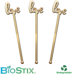 Royer Stir Sticks, Biodegradable Swizzle Sticks, Drink Stirrers in Love Script BioStix for Weddings, Bridal Showers, Valentine's Day - Gold, 6 Inch, Set of 48, Made in USA
