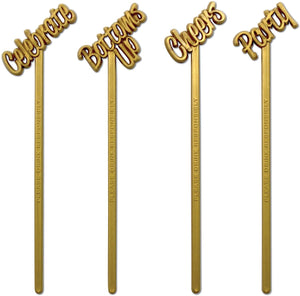 "Royer 6"" Plastic Party, Cheers, Celebrate, Bottoms Up Swizzle Sticks, Set of 24 - Made in USA (Pearl Gold)"