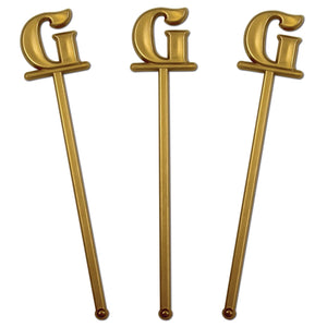"Royer 6"" Wedding Monogram Letter ""G"" Swizzle Sticks/Stirrers, Bold Font, Gold, Set of 24, Made in USA"