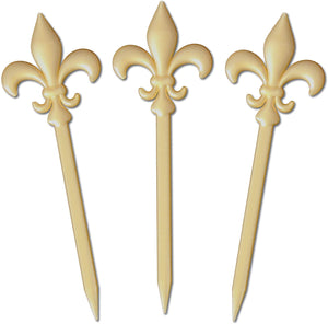 Fleur di Lis, Mardi Gras Cocktail Picks, Set of 48, Gold, Made in USA (Gold)