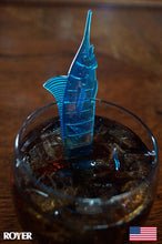 "Royer 6"" Plastic Marlin, Swordfish, Tropical Swizzle Sticks, Drink Stirrers, Transparent Blue, 24 ct. - Made in the USA"