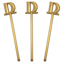 "Royer 6"" Wedding Monogram Letter D Swizzle Sticks/Stirrers, Bold Font, Gold, Set of 24, Made in USA"